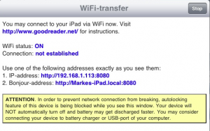 Goodreader WiFi Transfer Menu