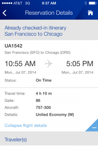 United airlines flight for free on the united airlines iphone app